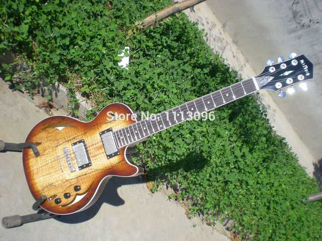 Cheap Electric guitar FREE SHIPPING G LP hollow jazz ELECTRIC GUITAR/with maple flame top/guitar in china