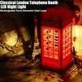 Luz da noite LEVOU Toque Regulável Clássico London Telephone Booth Projetado USB Recarregável lâmpada de Mesa Lâmpada de Cabeceira luminarias