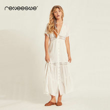 summer 2019 new lace women dress white short sleeve vdeep v neck hollow out ladies dresses a line ankle-length casual vestidos new spring summer women blouse short sleeve deep v neck hollow out lace up ladies dresses solid white casual cotton vestidos