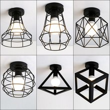 Ceiling Light Modern Industrial Vintage Cage Light Iron Art Living Room Ceiling Lamps Lampshade Suit for E27 led bulbs стоимость