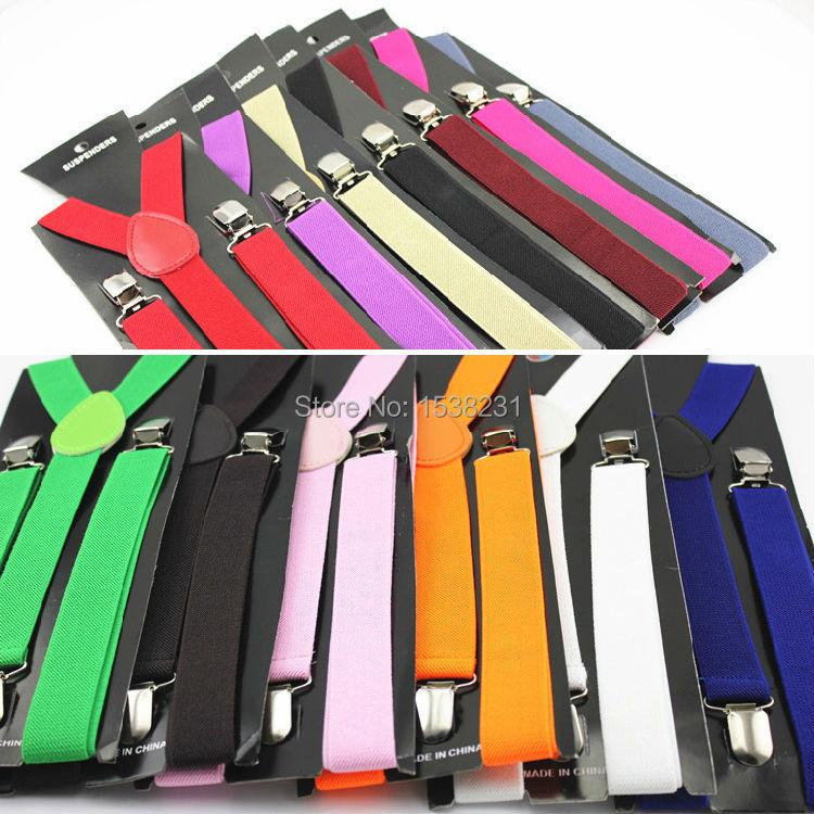 BRACE0001 Mens Womens Elastic Clip-on Solid Color Y-Shape Adjustable Braces Suspenders BRACE0001
