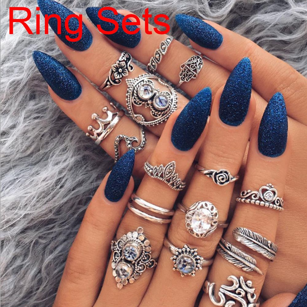 Bohemian Vintage Rings Set AttractiveCarved Flower Rhinestones Moon Leaf Lucky Elephant Knuckle Midi Finger Silver Women Jewelry