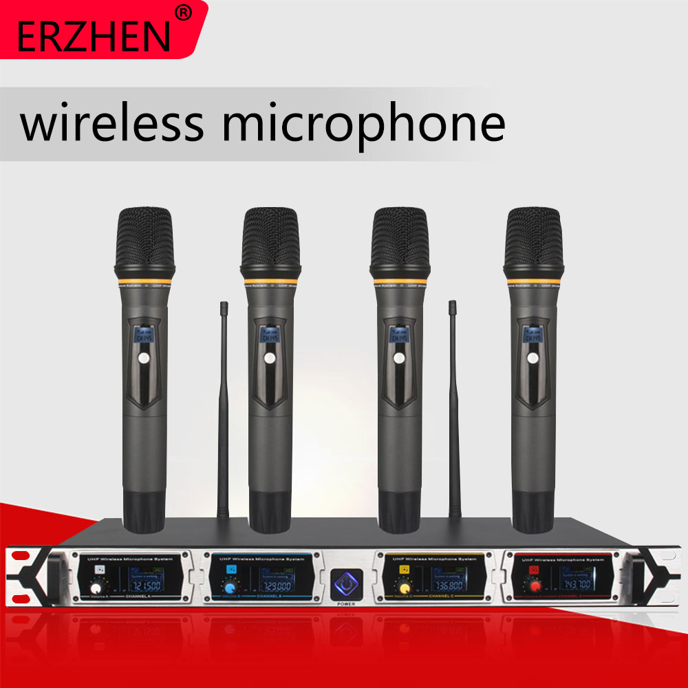 8000GT-3 Wireless Microphone System Professional UHF Channel Dynamic 4 Karaoke Lapel