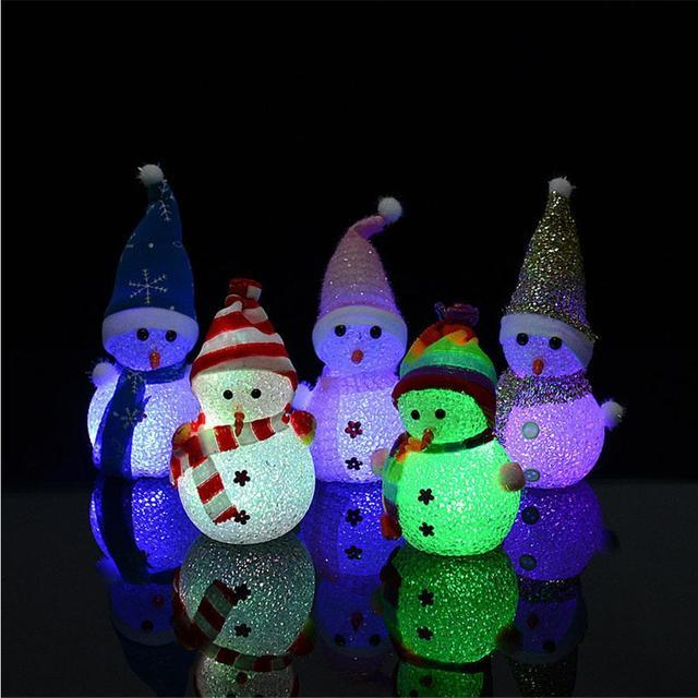 colorful light flash snowman christmas gift small night light rice crystal christmas snowman nightlight the christmas