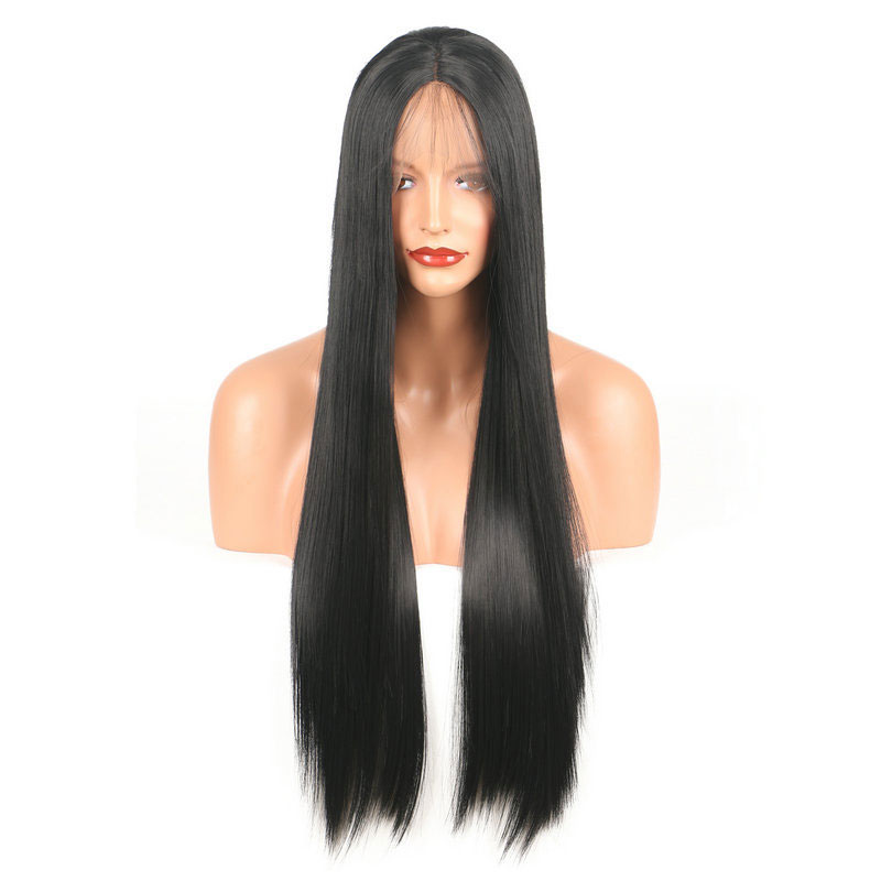 Lace Wigs Bombshell Black Color Straight Heat Resistant Futura No Tangle Synthetic Lace Front Wigs With Baby Hair For Women Daily Makeup To Enjoy High Reputation In The International Market Hair Extensions & Wigs