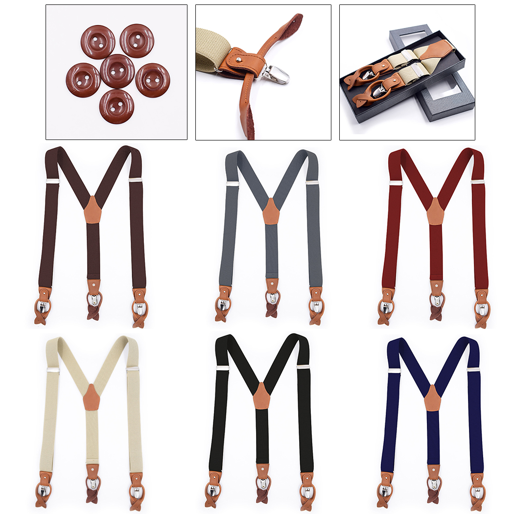 New Braces Men Suspenders For Women Jeans Pants Trouser With Clip-On Braces Elastic Suspenders Black White Clothing Accessories