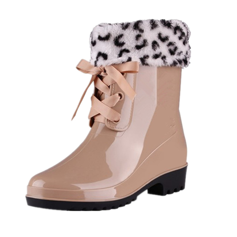2018 New Lace-Up Rain Boots Winter Werm Women Fashion Solid Ladies Flats Faux Fur Ankle Boots Casual Silver Women Boots Shoes vesonal brand faux fur women shoes flats 2017 winter warm velvet female fashion ladies woman sneakers casual footwear tsj 189