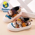 2016 Brand Design Autumn slip-on cartoon cotton canvas infant children first walkers toddle boys casual loafers baby girls shoes