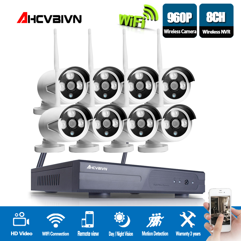 AHCVBIVN Wireless CCTV System 960P 8CH NVR Kit HD H.264 IP Camera Wifi Home Security Night Vision Video Surveillance Kit cctv system 960p 8ch hd wireless nvr kit outdoor ir night vision home security system surveillance ip camera wifi camera kit 42