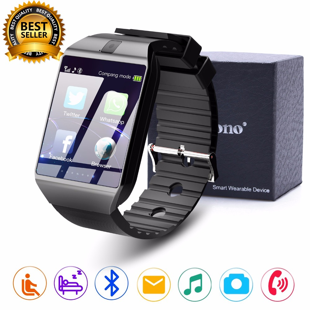 Cawono Bluetooth Smart Watch DZ09 Jam Tangan Relogios Smartwatch TF SIM Camera untuk IOS iPhone Samsung Huawei Xiaomi Android Phone