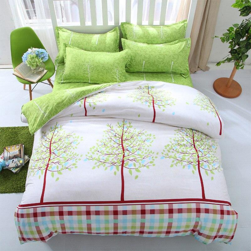 wliarleo green tree bedding set 4pcs cover sets comforter bedding set bedspread modern plant duvet cover - Modern Duvet Covers