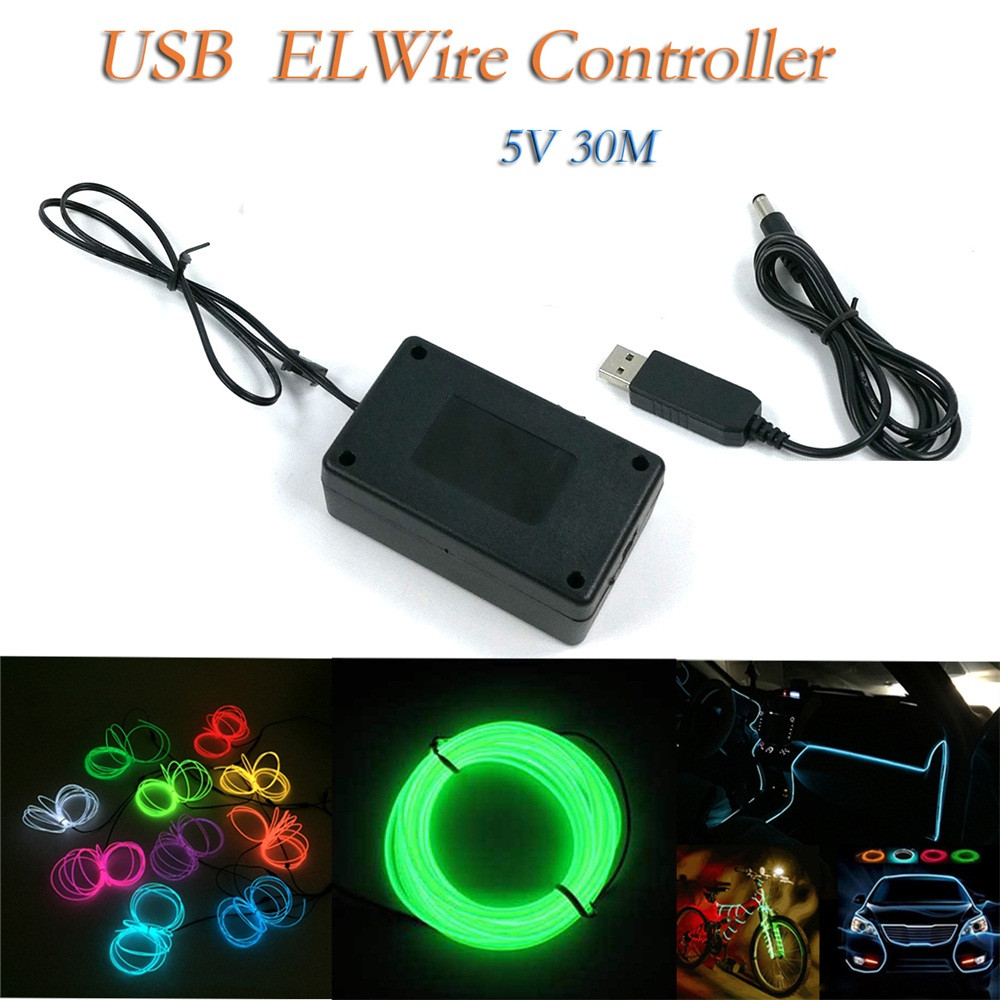 Neon Glowing Wires El Wire Controller Inverter Adapter Sound Control Drive Light Led Neon Lights Shoes Clothing Car Decor Power Source