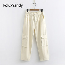 New Safari Style Cargo Pants Women Plus Size Trousers Pockets Loose Straight Pants Black Beige KKFY3540 zipper fly straight leg pockets cargo pants