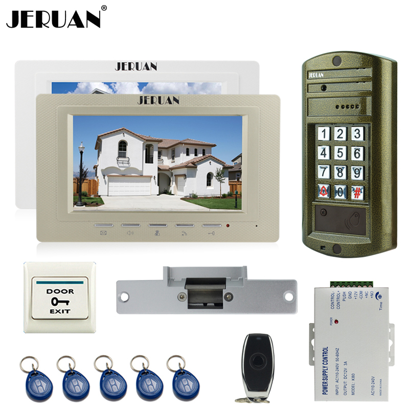 JERUAN Wired 7 inch Video Door Phone Doorbell Intercom System kit 2 Monitor + NEW Metal Waterproof Password HD IR Mini Camera jeruan wired 7 inch video doorbell intercom door phone system kit new metal waterproof access password keypad hd mini camera 1v3