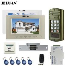 JERUAN Wired 7 inch Video Door Phone Doorbell Intercom System kit 2 Monitor + NEW Metal Waterproof Password HD IR Mini Camera