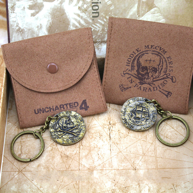 9ee00ad92f Uncharted 4 A thief s end pirate Gold Coin Pendant Necklace With Limited  Sheepskin Bag