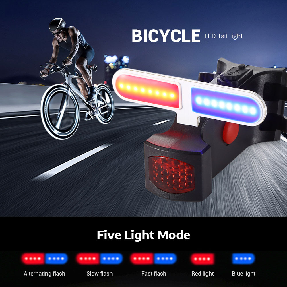 MTB Bike Bicycle Cycling LED Front Rear Tail Light Lamp Flash USB Rechargeable