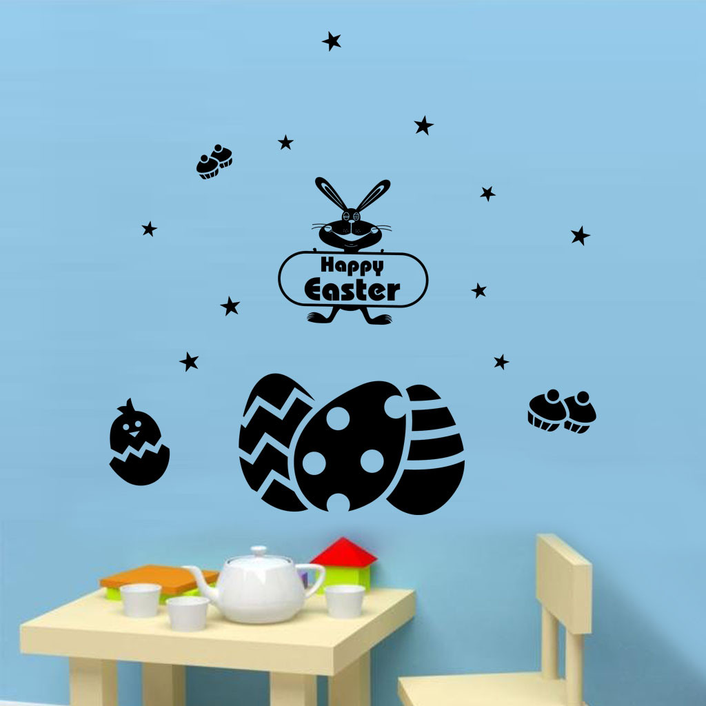 US $2.13 46% OFF|Wall Stickers Festival Easter Eggs Happy Bunny Stickers  Home Decoration deco chambre fille estrellas brillan en la oscuridad-in  Wall ...
