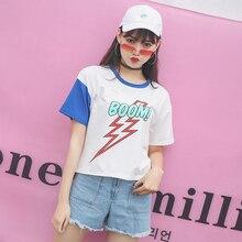 Summer new t-shirt bottoming shirt female new simple round neck collar female student shirt