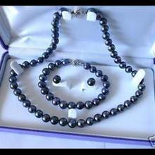XV Rincian tentang 7-8mm Hitam Akoya Cultured Pearl Necklace17 Bracelet7.5 Earring Set(China)