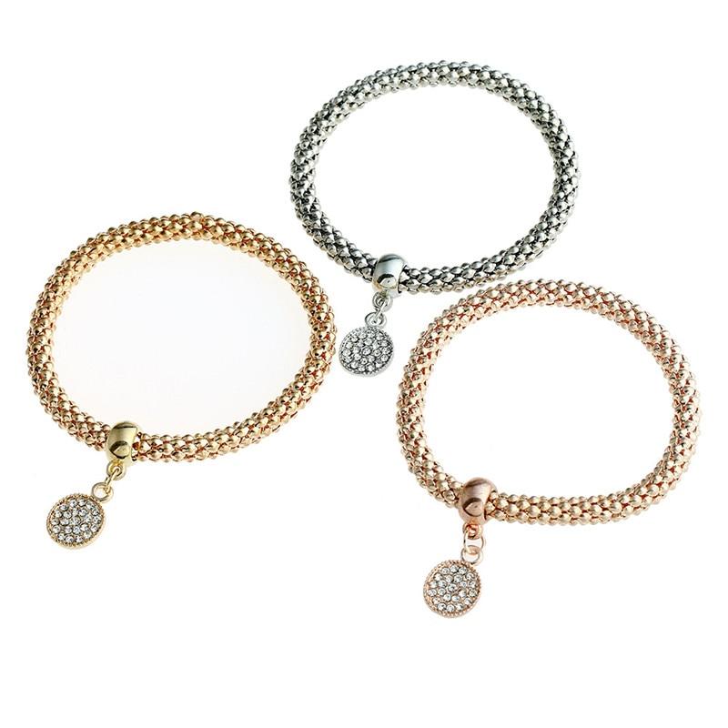 2018 New 3Pcs/Set Rhinestone Pendant Bracelet Metal Round Shape Elasticity Bracelet Bangles For Women Jewelry Valentine Gift
