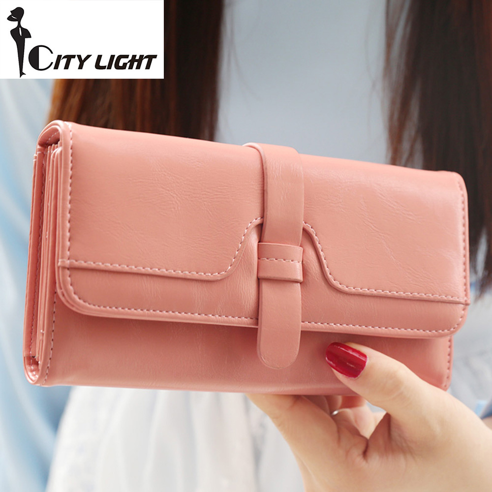 2016 new  fashion women wallets three fold long design wallet clutch  hasp soft High Quality wallet for women freeshipping trendy hasp and tri fold design wallet for women