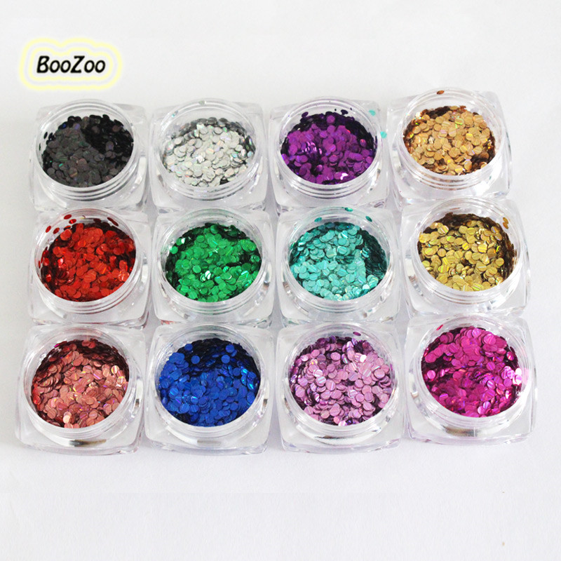 BlueZoo 12 Box Laser Sequins Glitter Powder For On Nail Mix Color Round Striped Shinny Paillette Sequined  Nail Art Decoration gd4 1 20g bag cute laser black star nail art shinny glitter cute decoration nail art decoration
