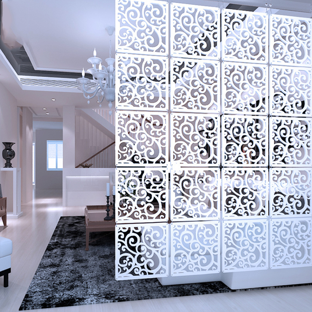 12 pezzo 29x29 Cm Appeso Schermi Soggiorno Parti Di Pannelli Partizione di Arte Della Parete Della Decorazione di Diy Bianco di Plastica di legno filato
