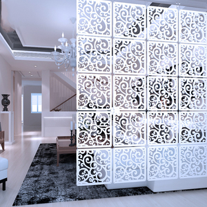Image 1 - 12  piece 29x29 Cm Hanging Screens Living Room Parts Of Panels Partition Wall Art Diy Decoration White Wood Plastic yarn