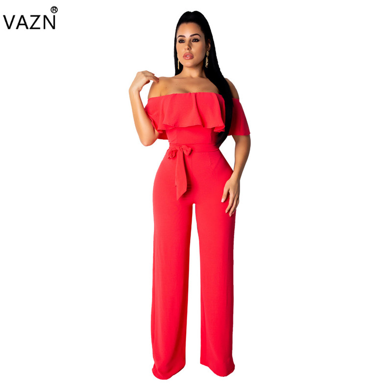 Persevering Vazn Hot Fashion Sexy Style 2019 Women Solid 3 Color Slash-neck Jumpsuits Lady Hollow Out Lace Up Wide Leg Long Romper Xmy9117 Catalogues Will Be Sent Upon Request Women's Clothing