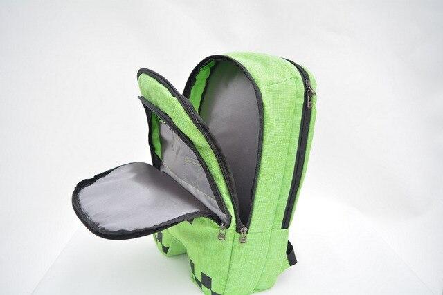 2016 HOT sell minecraft backpack high quality unisex canvas zip creeper backpacks mochilas school bag bolsas children gifts
