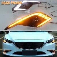 JAZZ TIGER 2PCS Flowing Yellow Turn Signal Function Waterproof ABS Car DRL Lamp LED Daytime Running Light For Mazda 6 2017 2018
