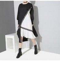 2018 Autumn Women Hit Color Patchwork Asymmetrical Dress Big Size Long Sleeve Party Dress Metal Holes Midi Dresses