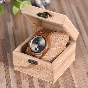 Image 5 - BOBO BIRD drewniane zegarki mężczyźni kobiety zegarki luksusowy skórzany pasek kwarcowy zegarek W drewnianym pudełku relogio masculino W * Q24