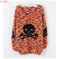 Cheap New Arrival Cartoon Skull Women Sweaters and Pullovers Color Mixed Long Sweaters Jumper Jacksuit