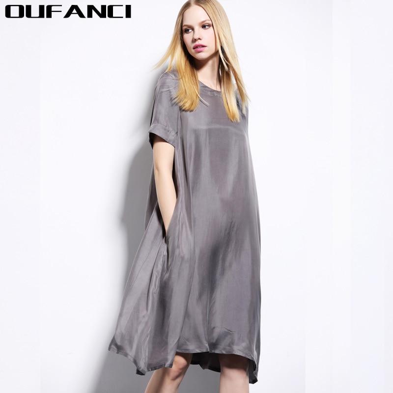 Silk Gowns For Women: OUFANCI 2017 Summer Cupra Silk Dress Women Large Plus Size