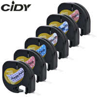 CIDY 10 Colors 91201 Compatible 12mm Blue/Pink Drop Purple Plaid Dymo Letratag Plastic Label LT 91201 91331 LT 12267 for LT-100H