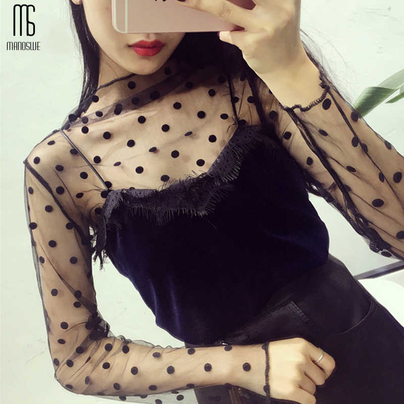 Zomer see-through little verticale kraag lange mouw kant top Ster Polka Dot Top Sexy Mesh Losse Twee Set t-Shirts Transparant