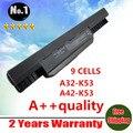 9 células bateria do portátil para Asus A43 A53 K43 K53 X43 A43B A53B K43B K53B X43B Series A32-K53 A42-K53