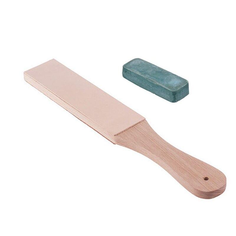 Messer Spitzer Set Holzgriff Leder Schärfen Streichriemen Handgemachte Rasierer Polieren Bord Und Polieren Wachs Leder Paste-in Schleifmaschinen aus Werkzeug bei