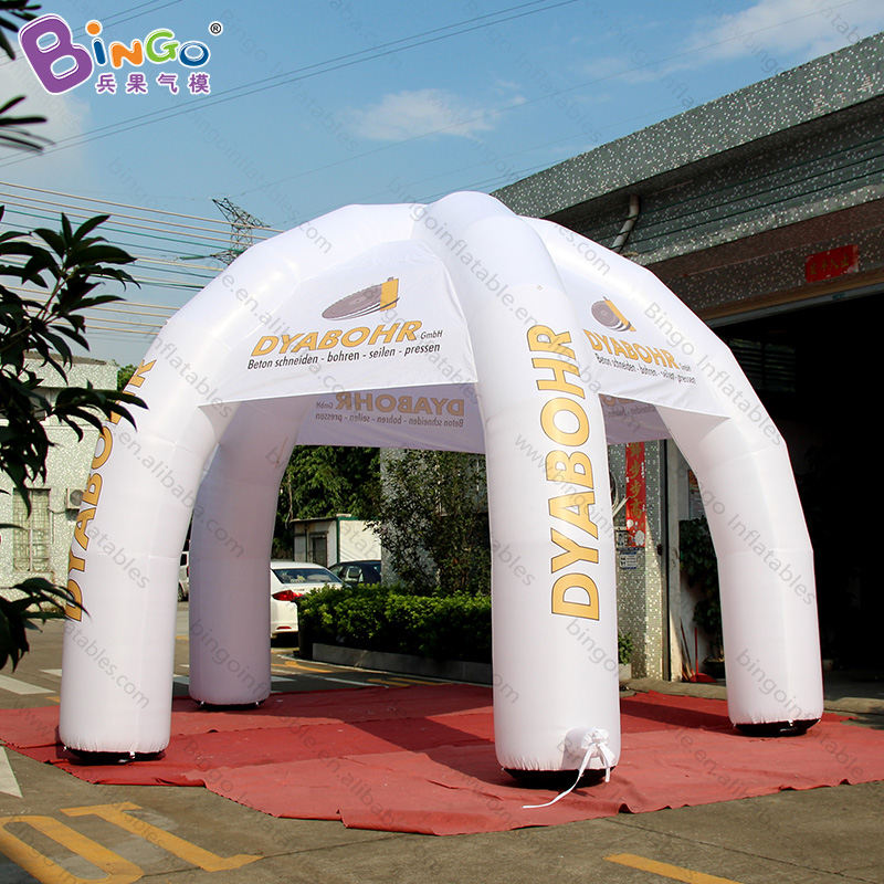 Personalized White 6x4.5 Meters Inflatable Spider Tent Digital Printed 5 Pillars Inflatable Gazebo Marquee Toy Tents Sturdy Construction