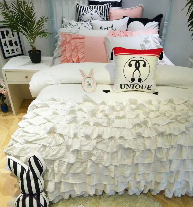 Princess style cake layers bedding full queen size ruffle falbala lace solid color bed skirt 4pcs duvet cover set free shipping