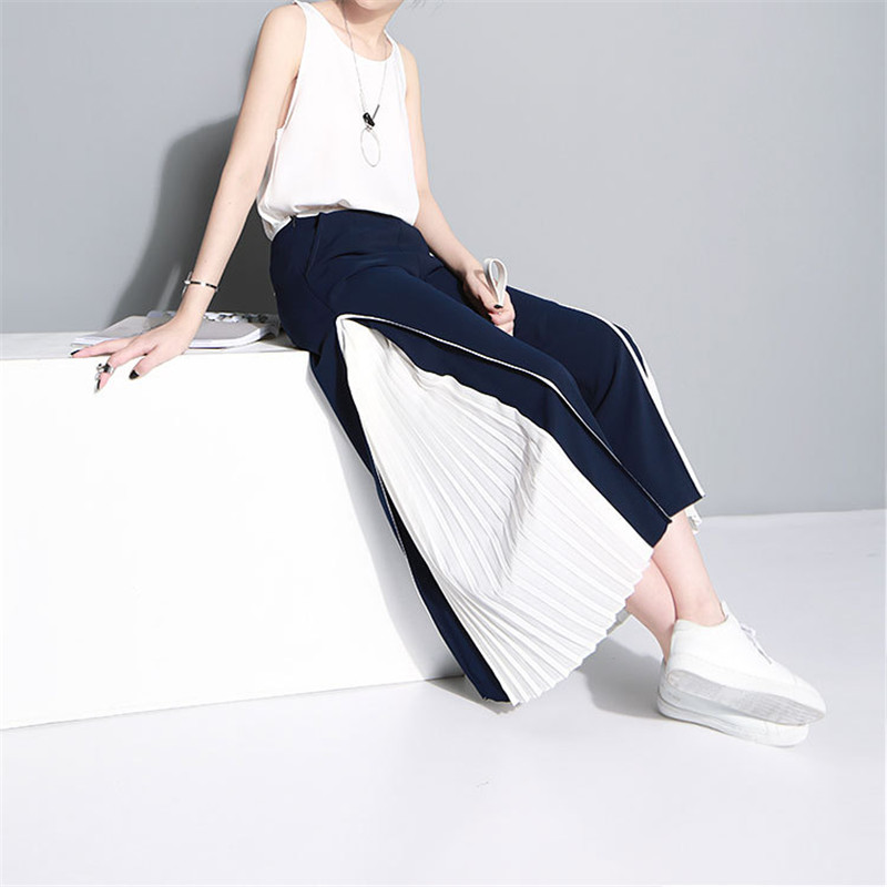 Wide Leg   Pants   2018 Women Fashion   Capris   Spring Summer Pleated Trousers Chiffon Patchwork   Pants   Ladies Ankle Length Loose   Pants