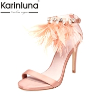 KarinLuna 2018 Brand Shoes Women big Size 33 43 Summer Woman Shoes Sandal Footwear Thin High Heels feather Party wedding Sandals