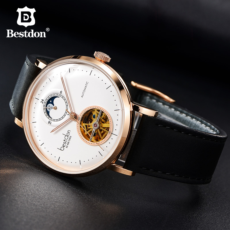 Bestdon 2.5d Curved Mechanical Watch Men Luxury Automatic Skeleton Brand Watches Waterproof Moon Phase Leather Sports WristwatchBestdon 2.5d Curved Mechanical Watch Men Luxury Automatic Skeleton Brand Watches Waterproof Moon Phase Leather Sports Wristwatch