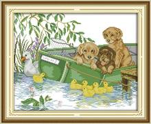 Joy Sunday Three Puppies (2) Cross Stitch Kit 14ct 11ct Counted and Print Fabric Pattern Embroidery DIY Handmade Needlework