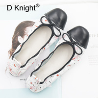 Plus Size 43 Female Ballet Flats Summer Slip On Casual Loafers Women Pregnant Shoes Natural Leather Print Baleriny Woman Shoes
