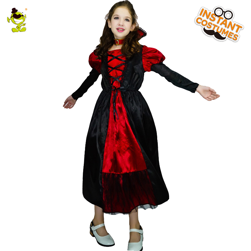 392ee3b02 Girls Medieval Vampire Costumes Scary Queen Role Play Fancy Dress Clothing  Girls Dance Dress For Masquerade Halloween Party -in Girls Costumes from  Novelty ...