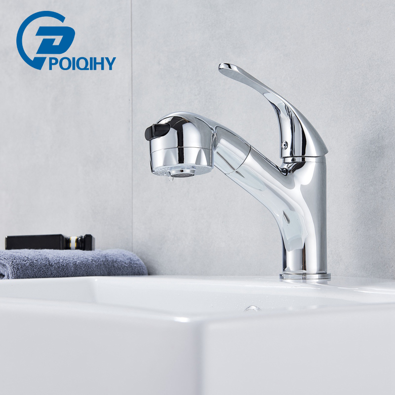 Chrome Polished Pull Out Bathroom Basin Faucet Deck Mounted Single Handle Single Hole Cold and Hot Water Mixer Hair Washing Tap pull down deck mounted single handle single hole chrome finish bathroom basin faucet sink mixer tap