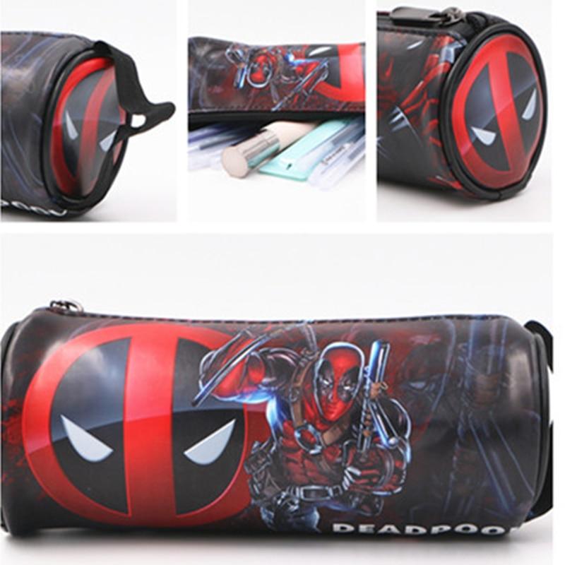 Super Hero Deadpool PU Pencil Bag Anime Pencil Case Kids Gift Hero Pencilcase Red Papelaria Stationery School Supplies 18cm